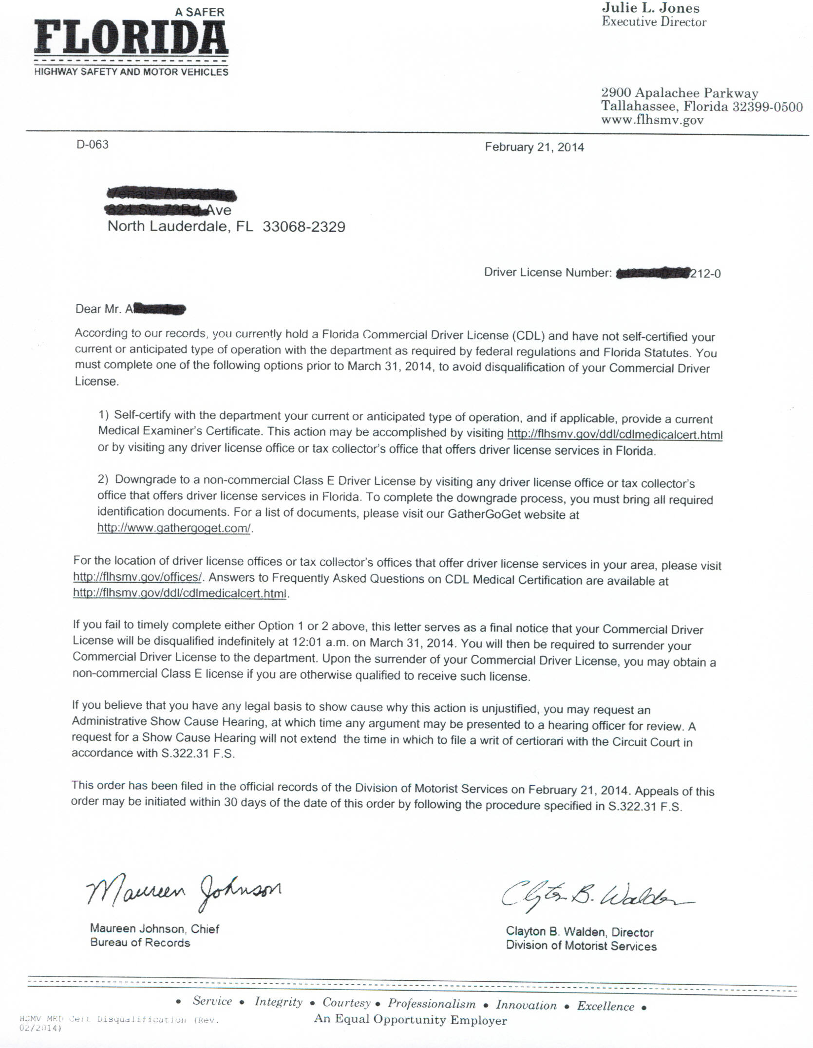 CDL Disqualification Letter Florida DMV